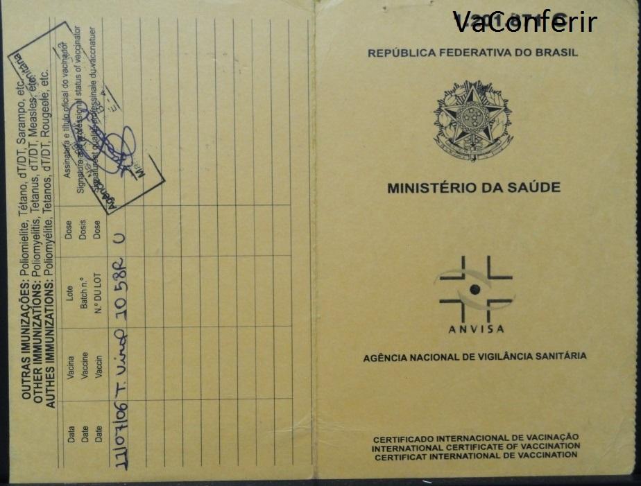 Certificado Internacional de Vacinação - validade: 10 anos!